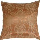 Pillow Decor - Copper with Copper Baroque Pattern Throw Pillow