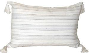Pillow Decor - Cream and Neutral Stripes Rectangular Accent Pillow