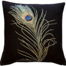 Pillow Decor - Peacock Feather 19x19 Throw Pillow  - SKU: AB1-8851-01-20