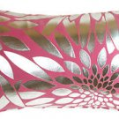 Pillow Decor - Metallic Floral Pink Rectangular Throw Pillow
