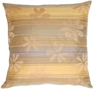 Pillow Decor - Beige Floral on Stripes Square Decorative Pillow