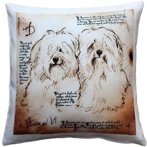 Pillow Decor - Havanese Duo Dog Pillow 17x17  - SKU: LE1-0034-01-17