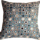 Pillow Decor - Houndstooth Spheres 18x18 Blue Throw Pillow