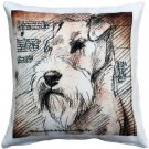 Pillow Decor - Schnauzer Looking Left Dog Pillow 17x17  - SKU: LE1-0037-01-17