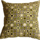 Pillow Decor - Houndstooth Spheres 18x18 Green Throw Pillow