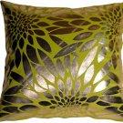 Pillow Decor - Metallic Floral Green Square Throw Pillow  - SKU: HC1-0003-03-20