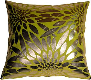 Pillow Decor - Metallic Floral Green Square Throw Pillow  - SKU: HC1-0003-03-20