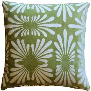 Pillow Decor - Velvet Daisy Green 20x20 Throw Pillow  - SKU: DC1-0005-04-20