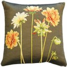 Pillow Decor - Yellow Dahlias Square Tapestry Throw Pillow