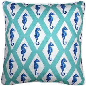 Pillow Decor - Capri Turquoise Argyle Seahorse Throw Pillow 20x20