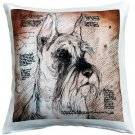 Pillow Decor - Schnauzer Cropped Ears Dog Pillow 17x17  - SKU: LE1-0038-01-17