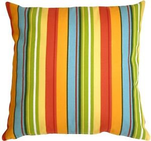 Pillow Decor - Bistro Stripes Azalea 20x20 Outdoor Pillow  - SKU: PD1-0130-01-20