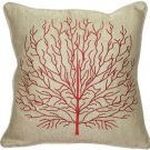 Pillow Decor - Fire Coral Red 17x17 Throw Pillow  - SKU: VC1-0004-03-17