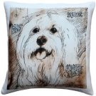 Pillow Decor - Mischievous Maltese 17x17 Dog Pillow  - SKU: LE1-0026-01-17