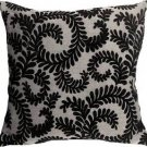Pillow Decor - Brackendale Ferns Black Throw Pillow  - SKU: SD1-0001-05-22