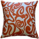 Pillow Decor - Tuscany Linen Swirl Orange Throw Pillow 20x20