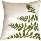 Pillow Decor - White with Green Bold Fern Throw Pillow  - SKU: KB1-0009-07-20