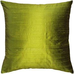Pillow Decor - Sankara Chartreuse Green Silk Throw Pillow 18x18