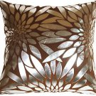 Pillow Decor - Metallic Floral Brown Square Throw Pillow  - SKU: HC1-0003-05-20