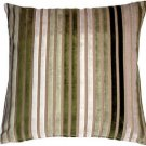 Pillow Decor - Velvet Multi Stripes Green 20x20 Throw Pillow