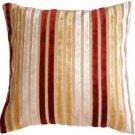 Pillow Decor - Velvet Multi Stripes Red 20x20 Throw Pillow
