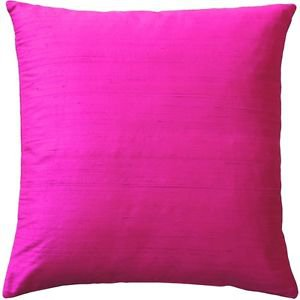 Pillow Decor - Sankara Fuchsia Pink Silk Throw Pillow 20x20