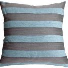 Pillow Decor - Brackendale Stripes Sea Blue Throw Pillow  - SKU: SD1-0002-02-22