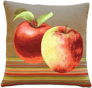 Pillow Decor - Fresh Apples on Brown 19x19 Throw Pillow - SKU: AB1-5298-02-20