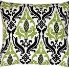 Pillow Decor - Linen Damask Print Green Black 18x18 Throw Pillow