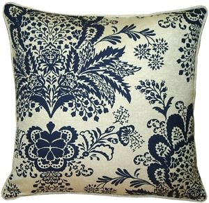 Pillow Decor - Rustic Floral Blue 20x20 Throw Pillow  - SKU: VC1-0003-02-20