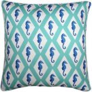 Pillow Decor - Capri Turquoise Argyle Seahorse Throw Pillow 26x26