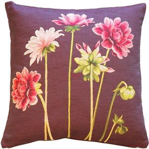 Pillow Decor - Pink Dahlias Square Tapestry Throw Pillow - SKU: AB1-5307-01-20