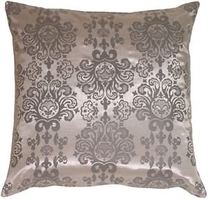 Pillow Decor - Gray with Gray Baroque Pattern Throw Pillow