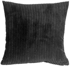 Pillow Decor - Wide Wale Corduroy Black 18x18 Throw Pillow