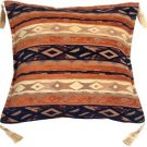 Pillow Decor - Kilim Stripes Blue and Orange 17x17 Throw Pillow