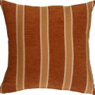 Pillow Decor - Traditional Stripes in Rust 19x19 Decorative Pillow