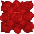 Pillow Decor - Felt Flowers in Red 17x17 Throw Pillow  - SKU: HD1-0001-01-17