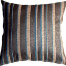 Pillow Decor - Glitter Stripes 20x20 Blue and Gray Throw Pillow