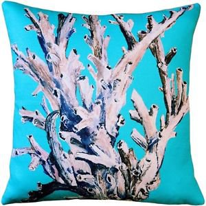 Pillow Decor - Ocean Reef Coral on Turquoise Throw Pillow 20x20