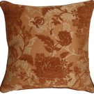 Pillow Decor - Traditional Floral in Rust 18x18 Decorative Pillow