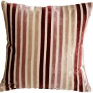 Pillow Decor - Velvet Multi Stripes Mauve 16x16 Throw Pillow