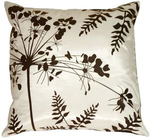 Pillow Decor - White with Brown Spring Flower and Ferns 20x20 Pillow