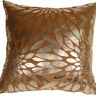Pillow Decor - Metallic Floral Camel Square Throw Pillow  - SKU: HC1-0003-04-20