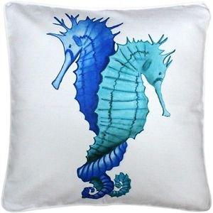 Pillow Decor - Capri Entwined Seahorses Throw Pillow 20x20