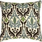 Pillow Decor - Linen Damask Print Blue Brown 18x18 Throw Pillow