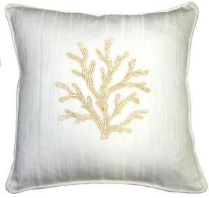 Pillow Decor - Sea Coral in White and Champagne 17x17 Throw Pillow
