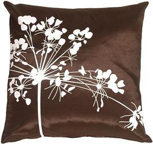 Pillow Decor - Brown with White Spring Flower Throw Pillow