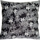 Pillow Decor - Delicate Floral on Black 20x20 Accent Pillow