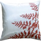 "Pillow Decor - White with Red Bold Fern 20"" Throw Pillow  - SKU: KB1-0009-10-20"