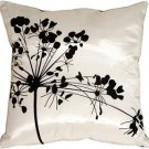 Pillow Decor - White with Black Spring Flower Throw Pillow